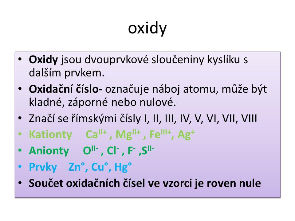 oxidy Oxidy jsou dvouprvkové sloučeniny kyslíku s dalším prvkem.