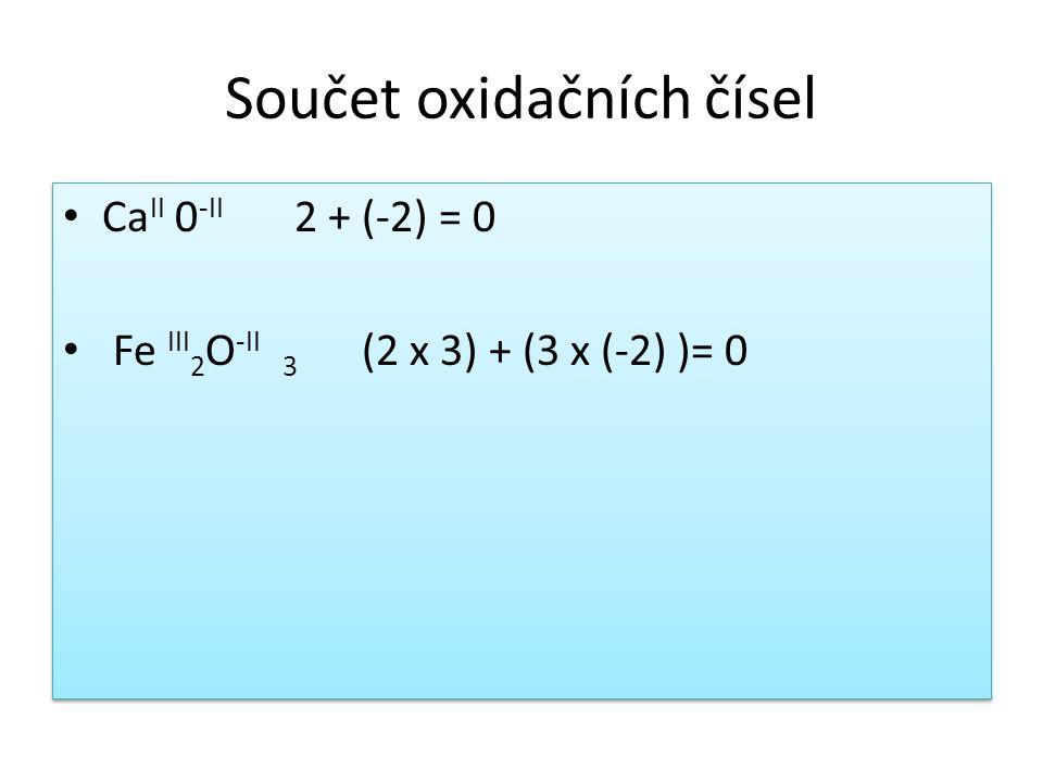 Součet oxidačních čísel