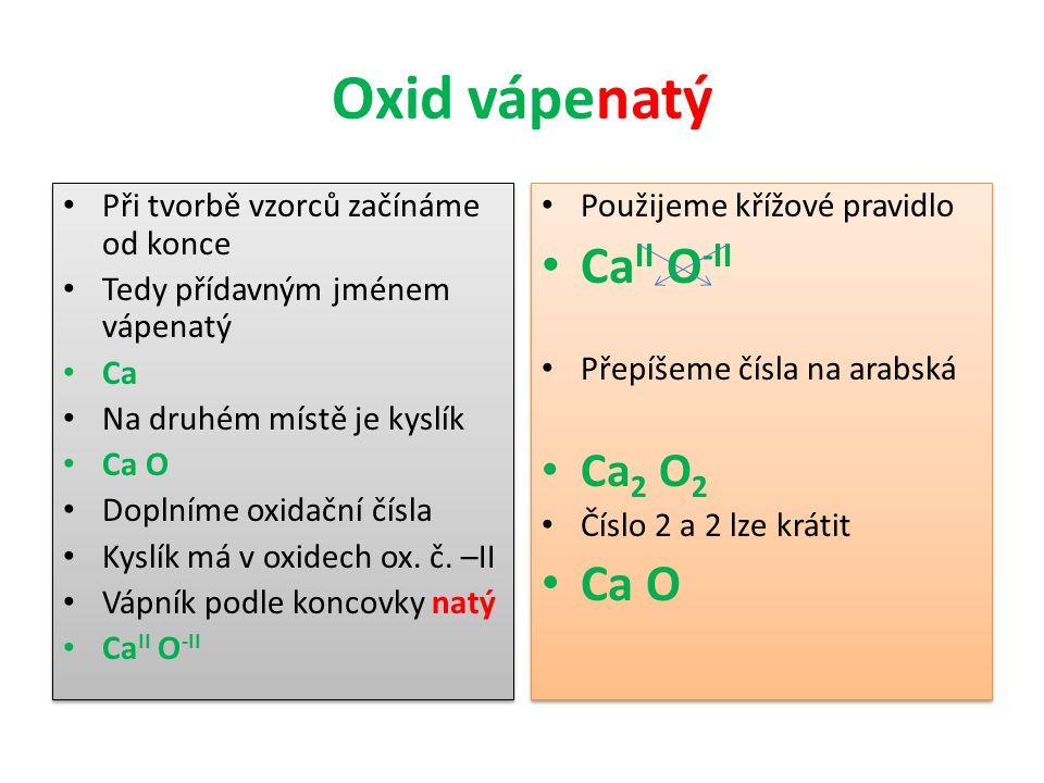 Oxid vápenatý CaII O-II Ca O Ca2 O2