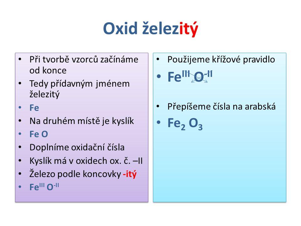 Oxid železitý FeIII O-II Fe2 O3 Při tvorbě vzorců začínáme od konce