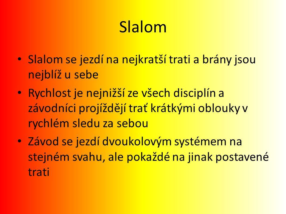 Slalom Slalom se jezdí na nejkratší trati a brány jsou nejblíž u sebe