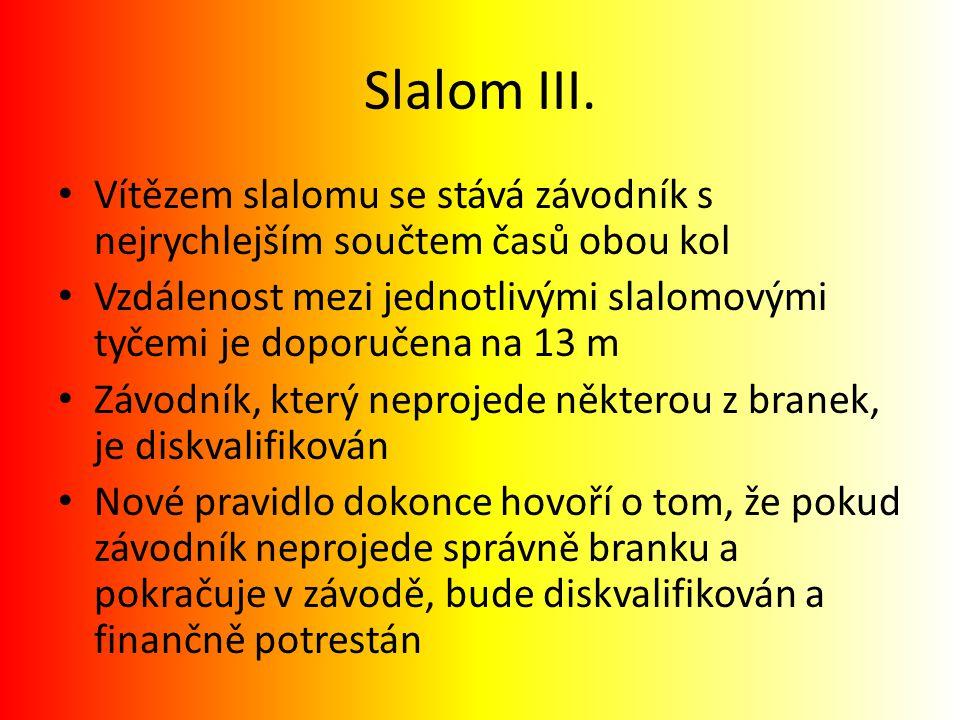 Slalom III. Vítězem slalomu se stává závodník s nejrychlejším součtem časů obou kol.