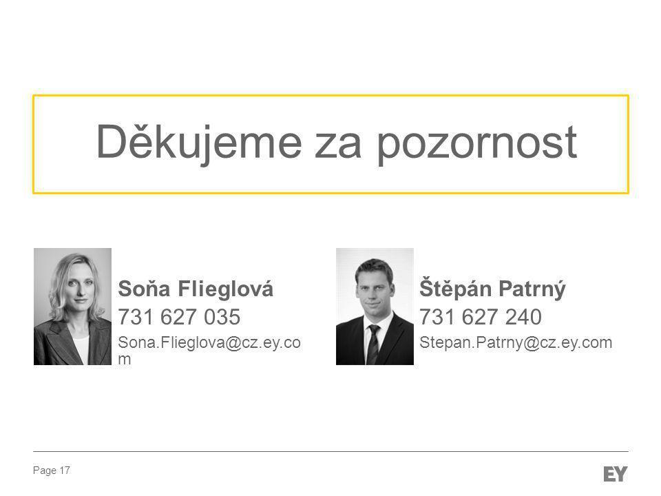 Děkujeme za pozornost Soňa Flieglová 731 627 035 Štěpán Patrný
