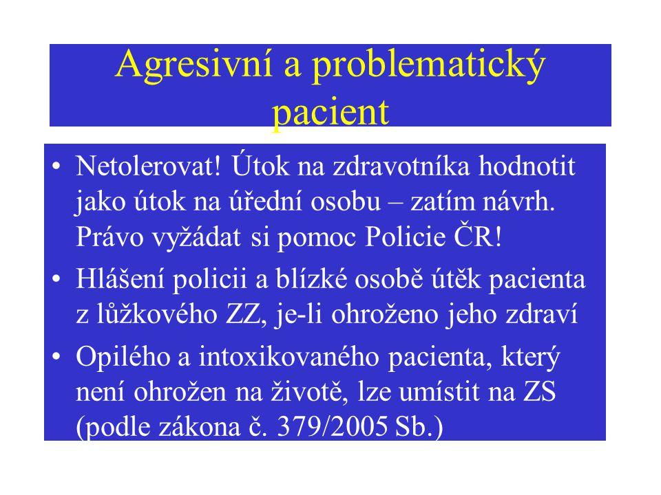 Agresivní a problematický pacient
