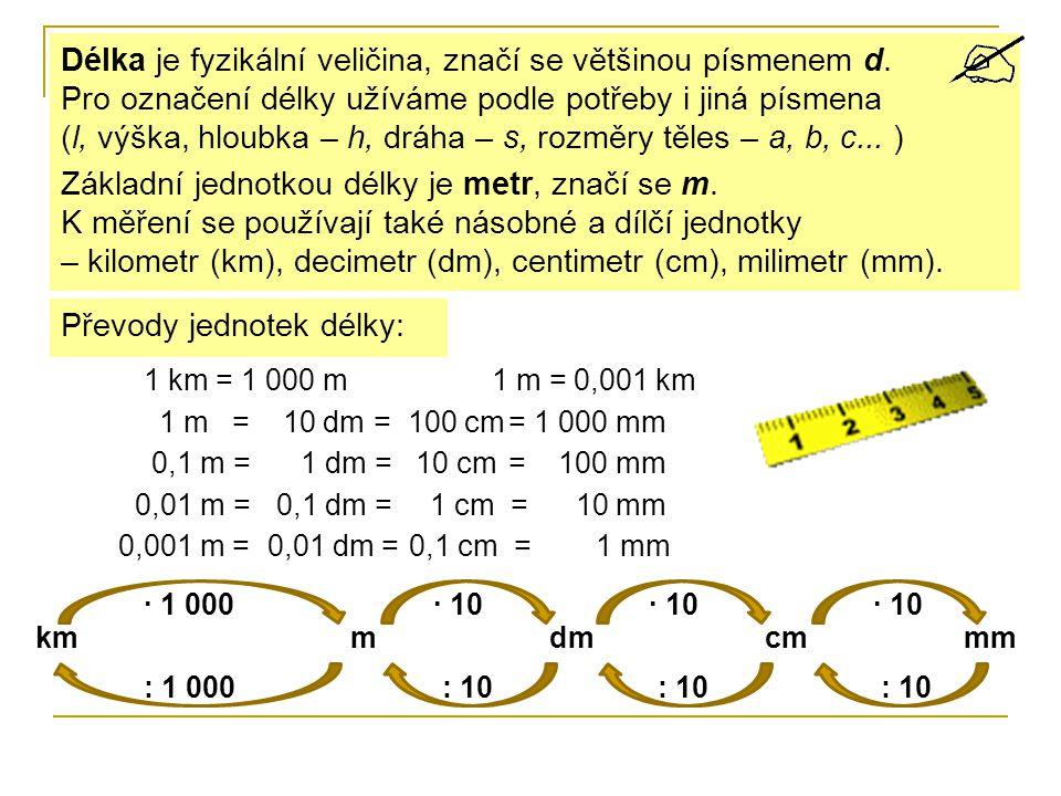 Základní jednotkou délky je metr, značí se m.