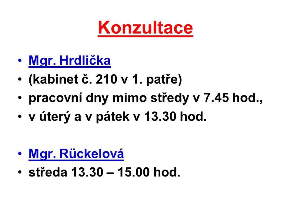 Konzultace Mgr. Hrdlička (kabinet č. 210 v 1. patře)
