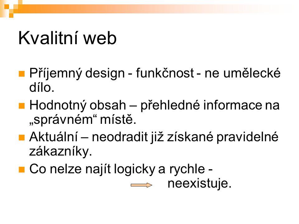 Kvalitní web Příjemný design - funkčnost - ne umělecké dílo.