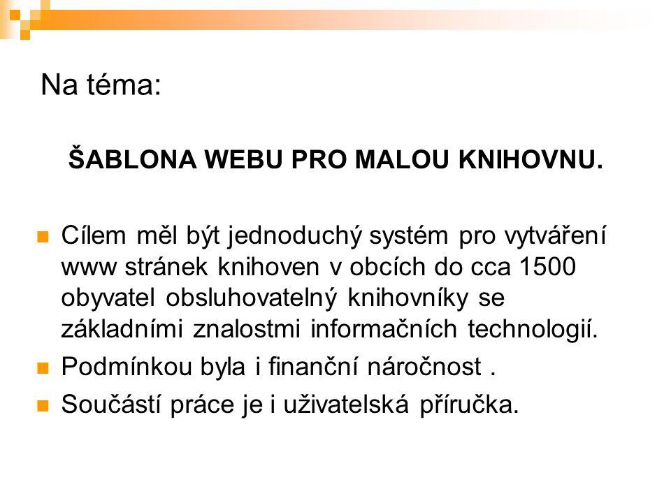 ŠABLONA WEBU PRO MALOU KNIHOVNU.