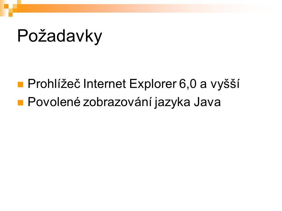 Požadavky Prohlížeč Internet Explorer 6,0 a vyšší