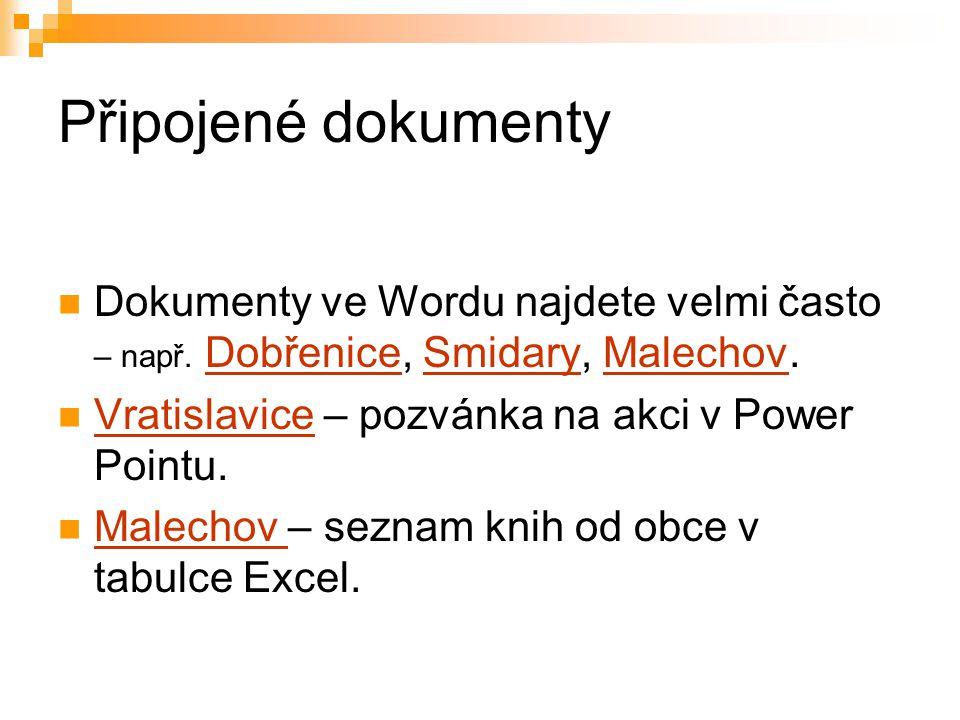Připojené dokumenty Dokumenty ve Wordu najdete velmi často – např. Dobřenice, Smidary, Malechov. Vratislavice – pozvánka na akci v Power Pointu.