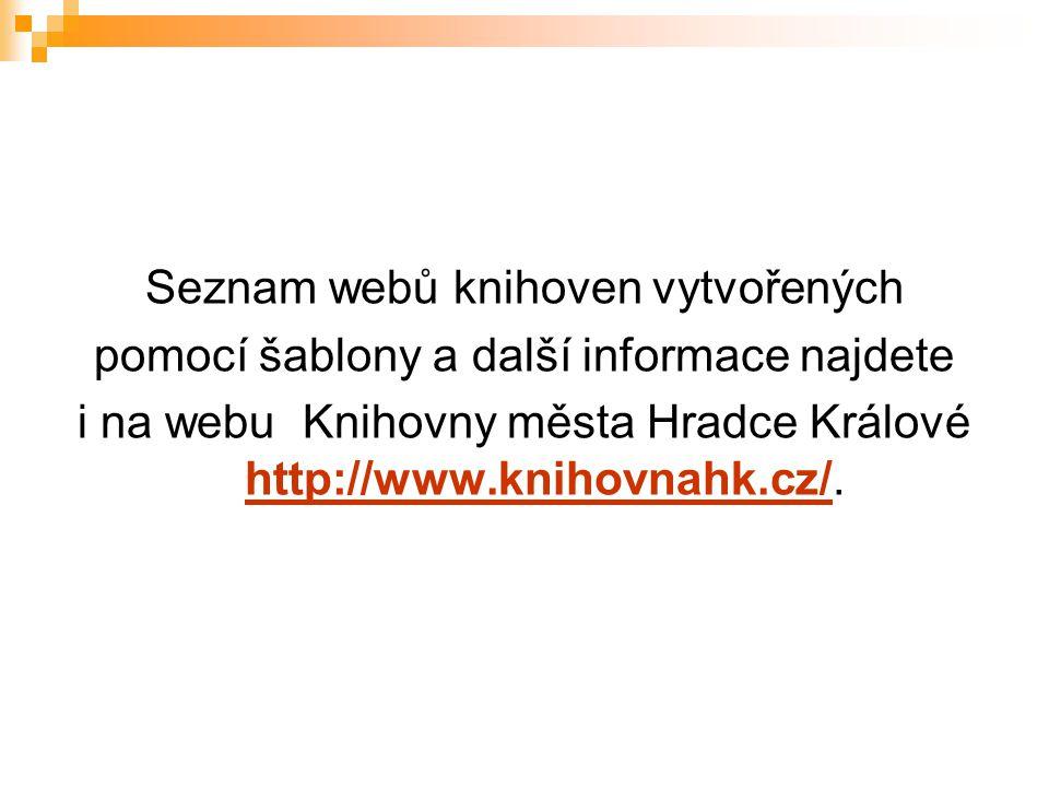 Seznam webů knihoven vytvořených