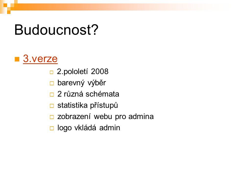 Budoucnost 3.verze barevný výběr 2 různá schémata statistika přístupů
