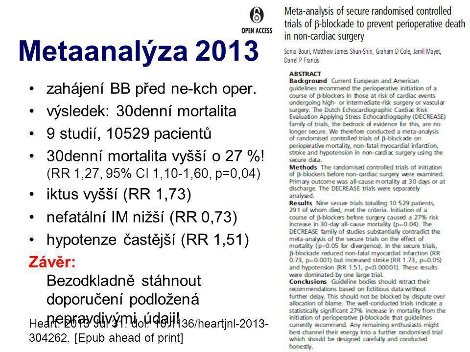 Metaanalýza 2013 zahájení BB před ne-kch oper.