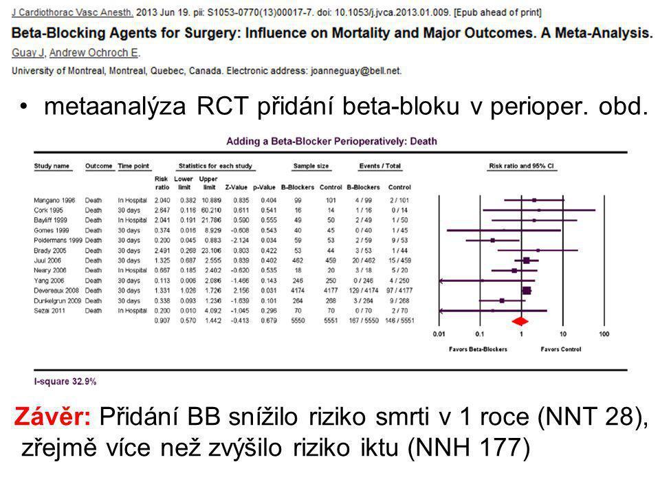 metaanalýza RCT přidání beta-bloku v perioper. obd.