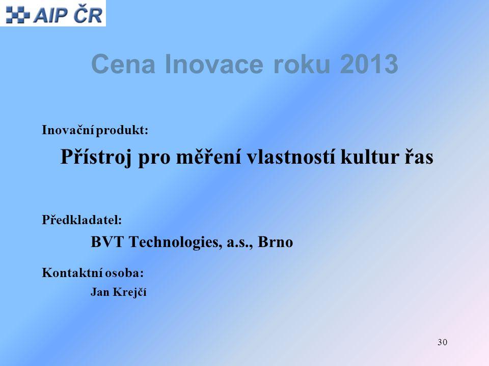 Cena Inovace roku 2013 Přístroj pro měření vlastností kultur řas