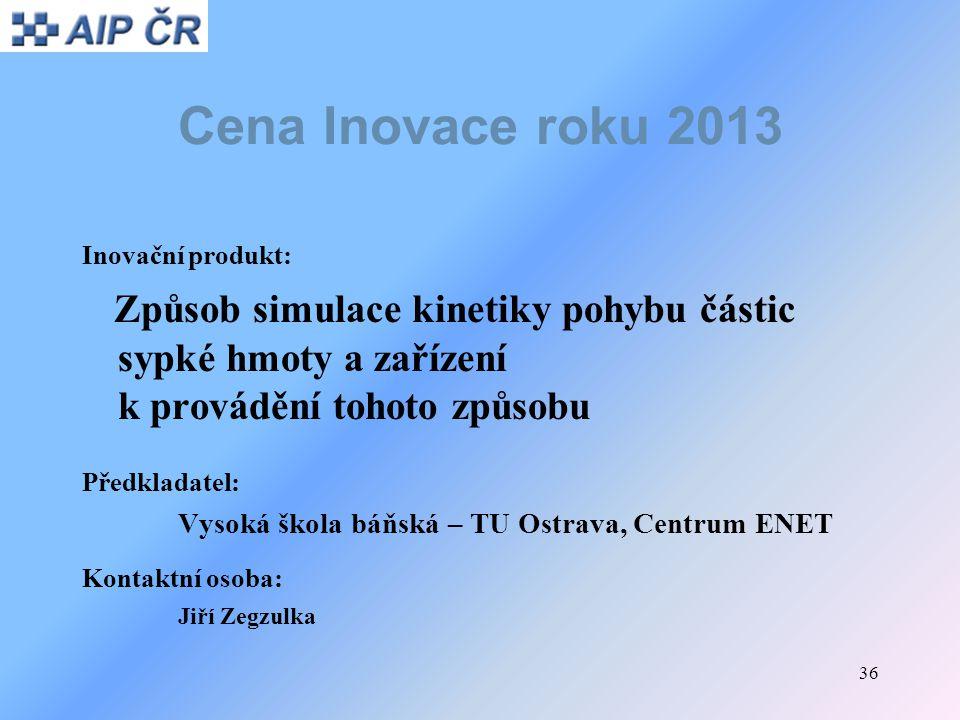 Cena Inovace roku 2013 Inovační produkt: