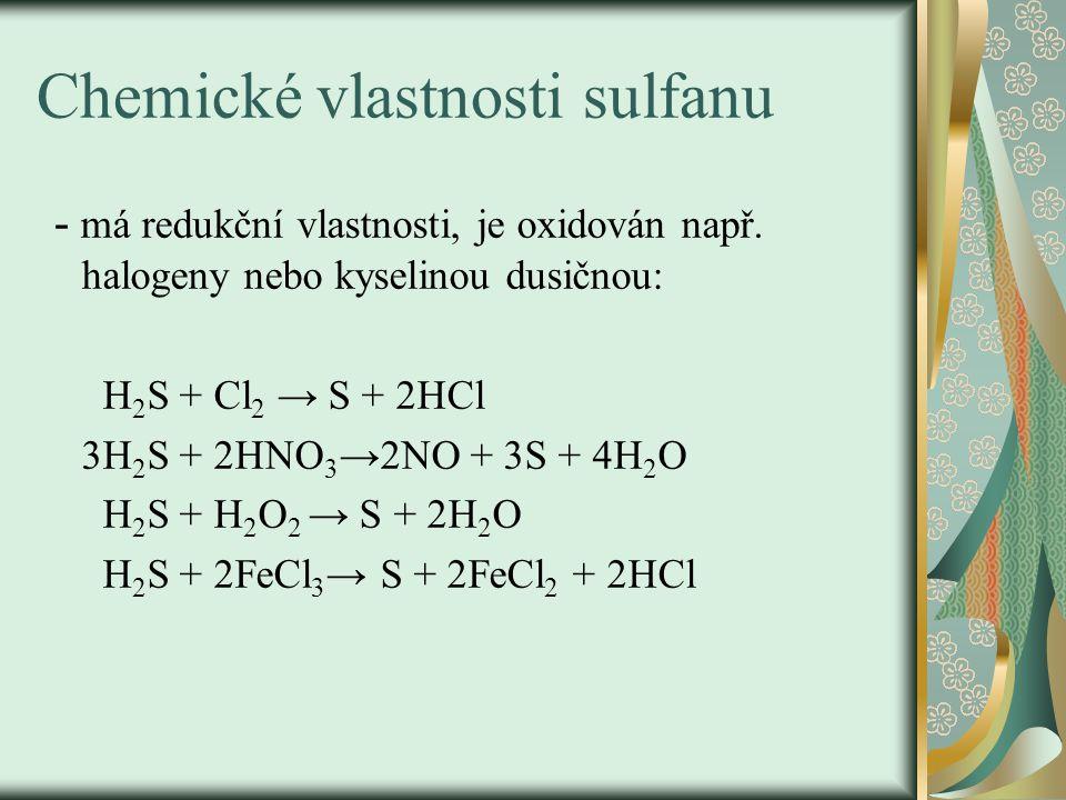 Chemické vlastnosti sulfanu