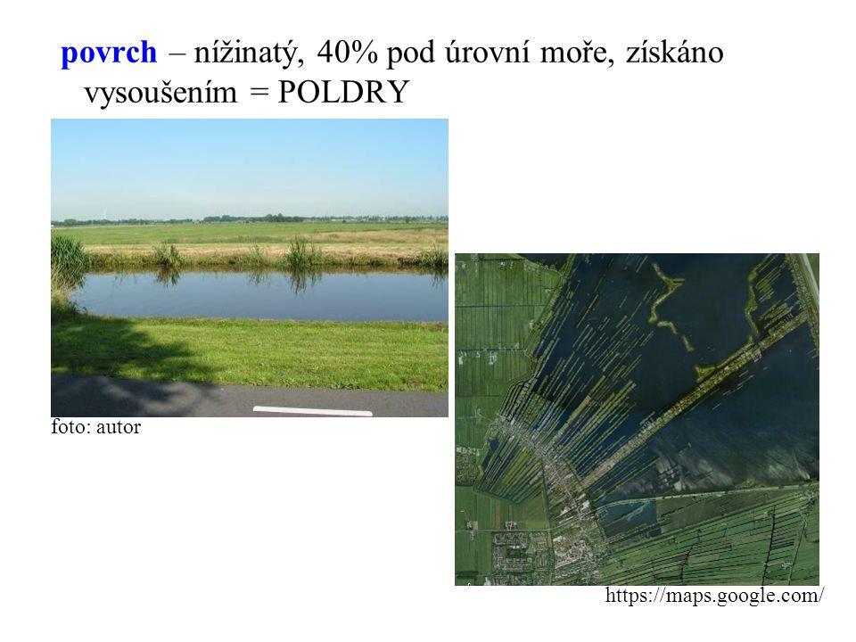 povrch – nížinatý, 40% pod úrovní moře, získáno vysoušením = POLDRY