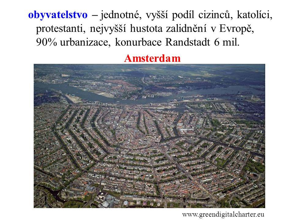 obyvatelstvo – jednotné, vyšší podíl cizinců, katolíci, protestanti, nejvyšší hustota zalidnění v Evropě, 90% urbanizace, konurbace Randstadt 6 mil. Amsterdam