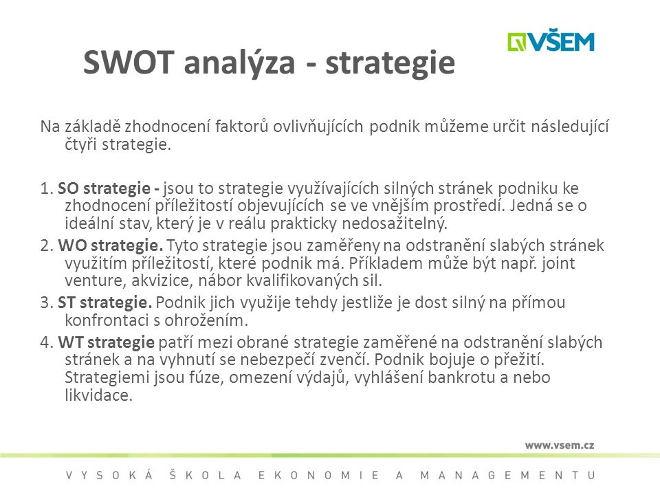 SWOT analýza - strategie