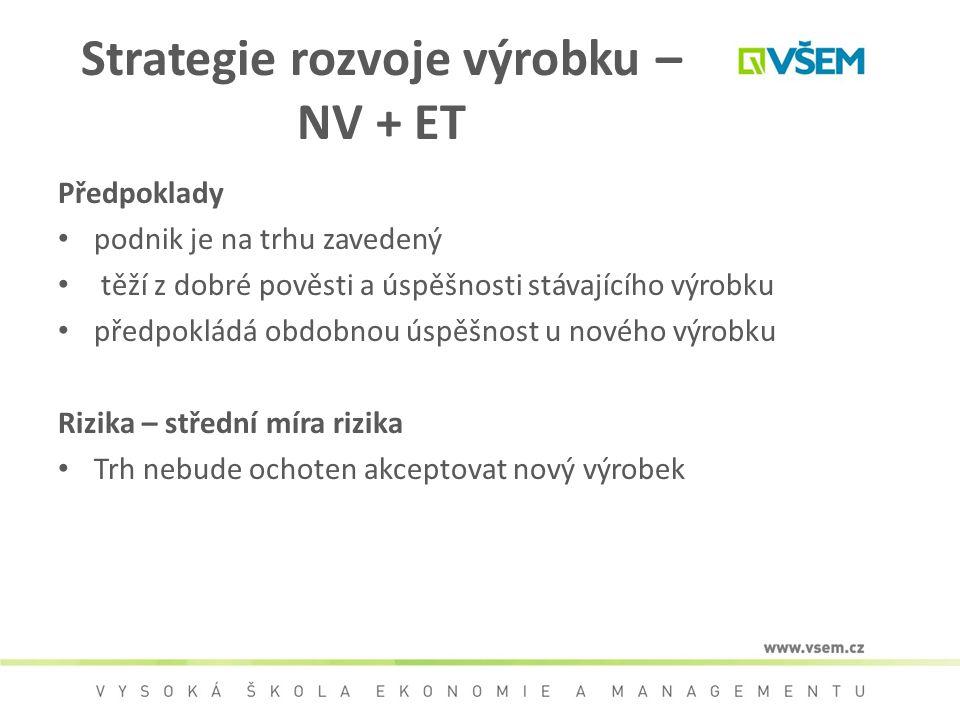 Strategie rozvoje výrobku – NV + ET