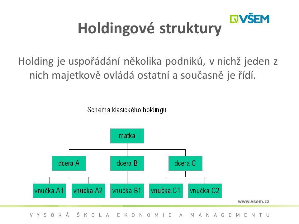Holdingové struktury Holding je uspořádání několika podniků, v nichž jeden z nich majetkově ovládá ostatní a současně je řídí.