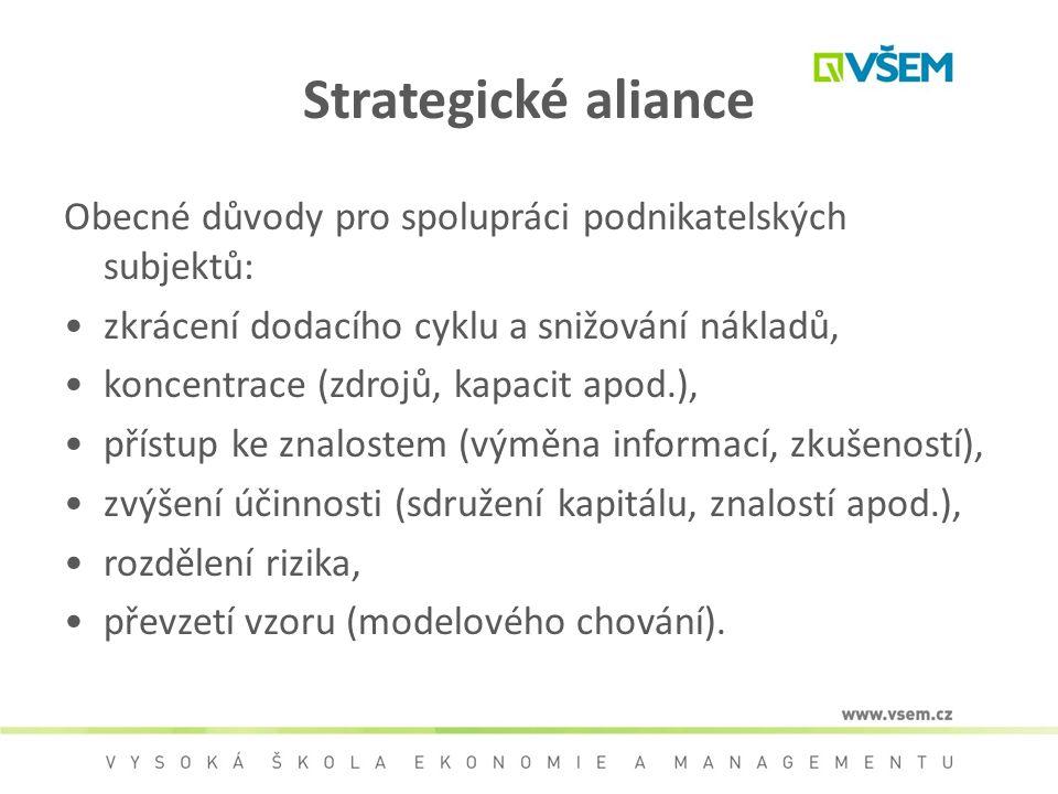 Strategické aliance Obecné důvody pro spolupráci podnikatelských subjektů: zkrácení dodacího cyklu a snižování nákladů,