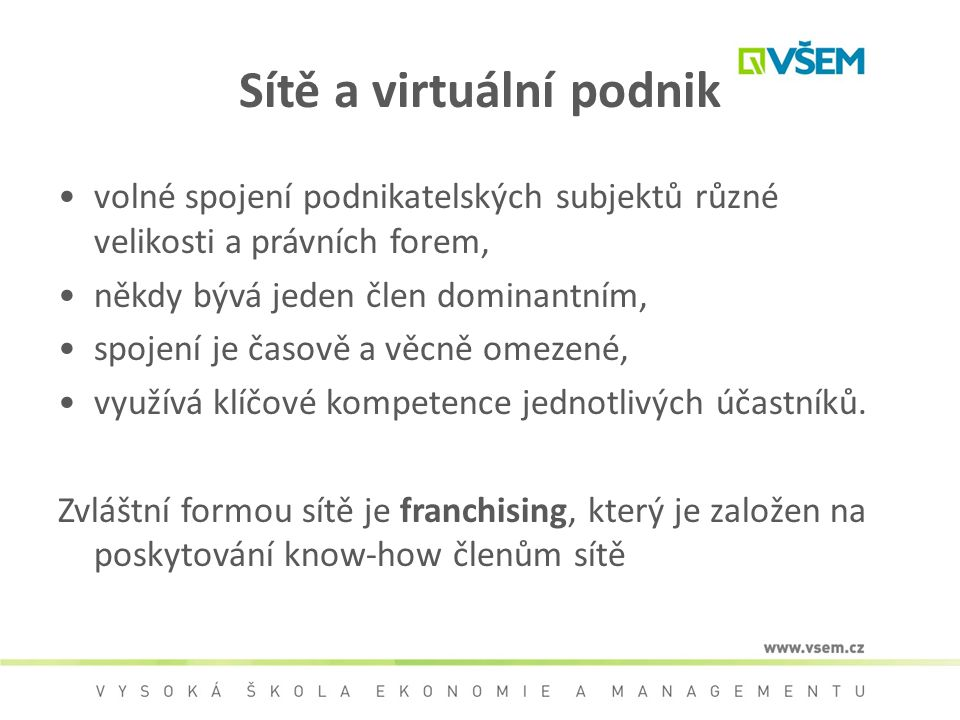 Sítě a virtuální podnik