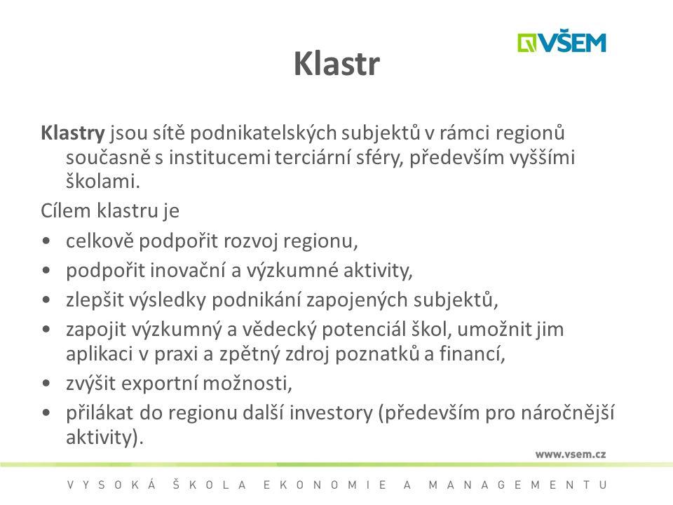 Klastr Klastry jsou sítě podnikatelských subjektů v rámci regionů současně s institucemi terciární sféry, především vyššími školami.