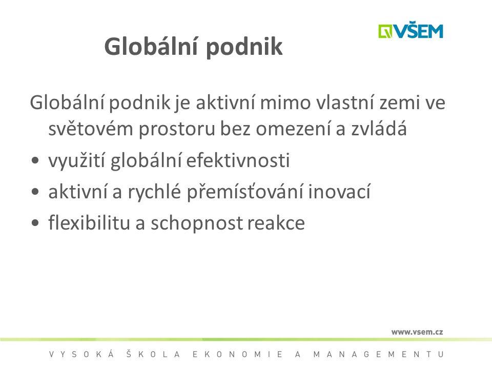 Globální podnik Globální podnik je aktivní mimo vlastní zemi ve světovém prostoru bez omezení a zvládá.