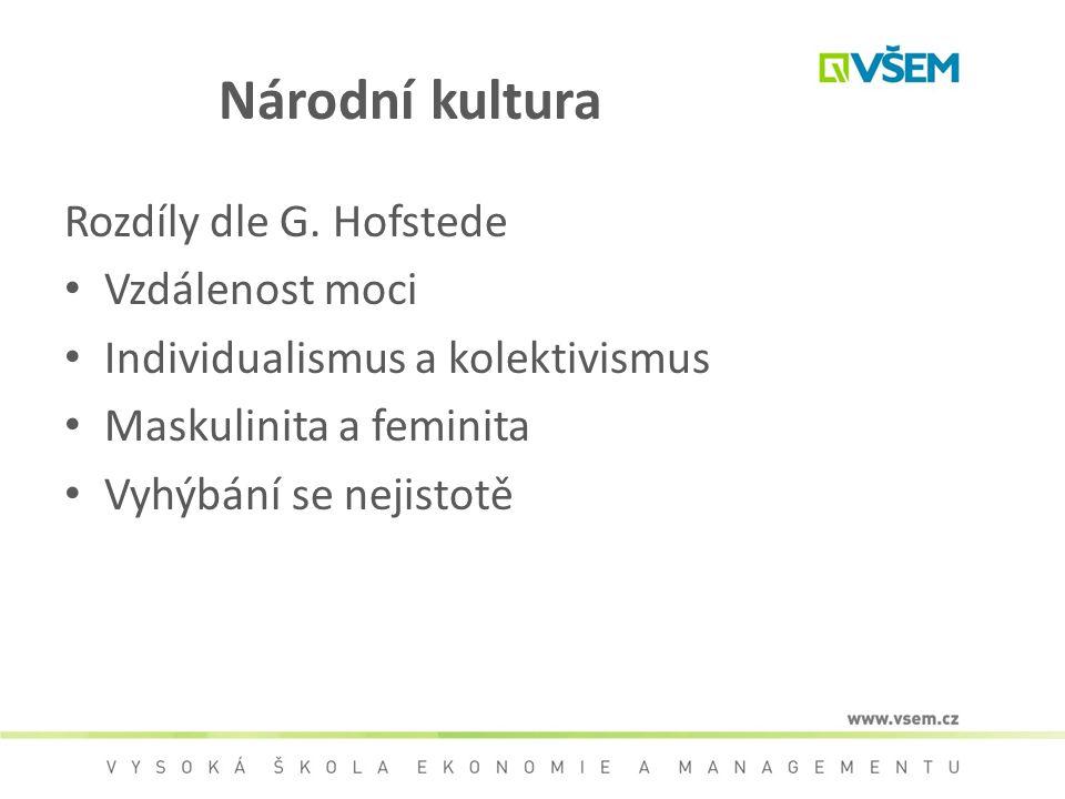 Národní kultura Rozdíly dle G. Hofstede Vzdálenost moci