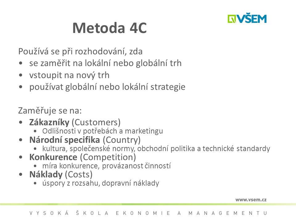 Metoda 4C Používá se při rozhodování, zda