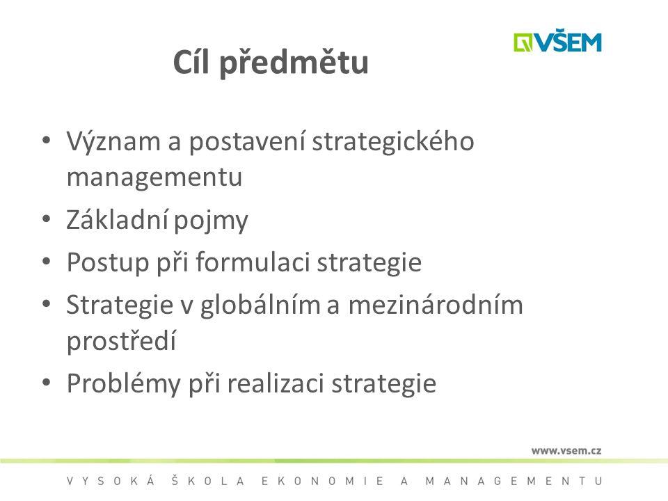 Cíl předmětu Význam a postavení strategického managementu