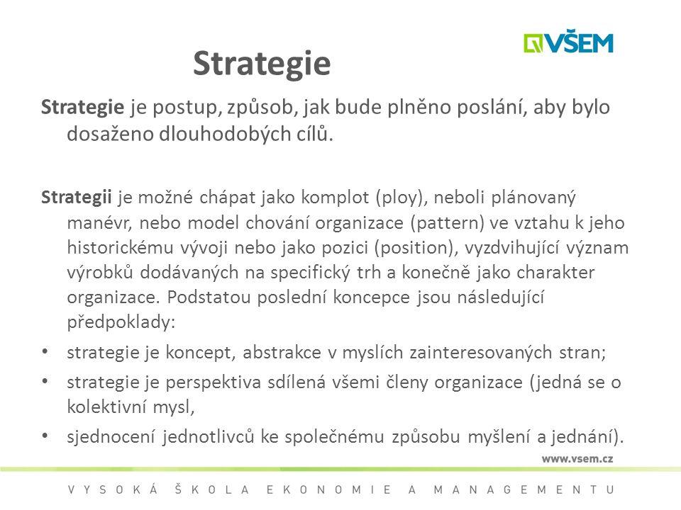 Strategie Strategie je postup, způsob, jak bude plněno poslání, aby bylo dosaženo dlouhodobých cílů.