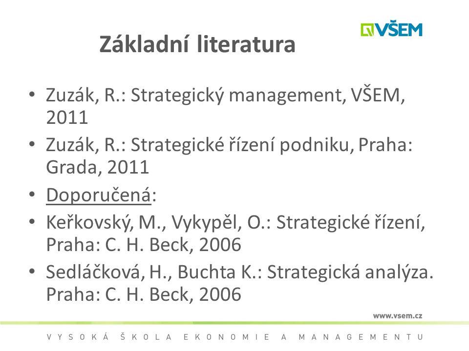 Základní literatura Zuzák, R.: Strategický management, VŠEM, 2011