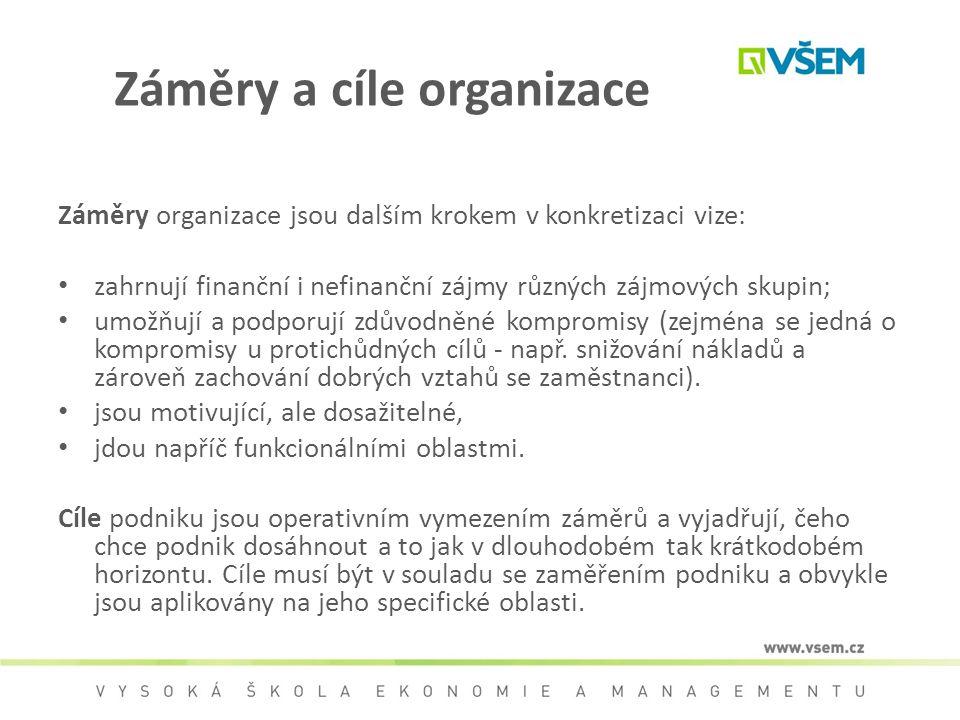 Záměry a cíle organizace