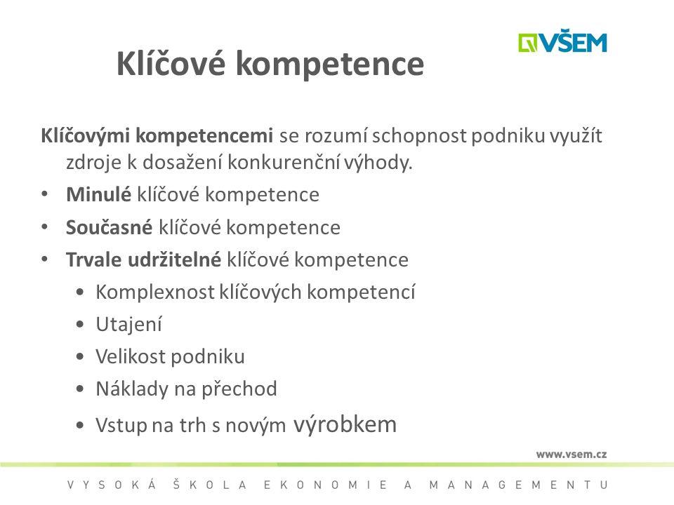 Klíčové kompetence Klíčovými kompetencemi se rozumí schopnost podniku využít zdroje k dosažení konkurenční výhody.