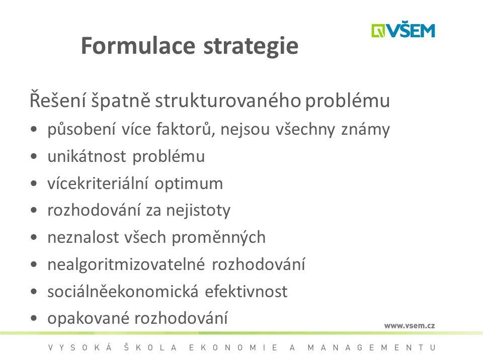 Formulace strategie Řešení špatně strukturovaného problému