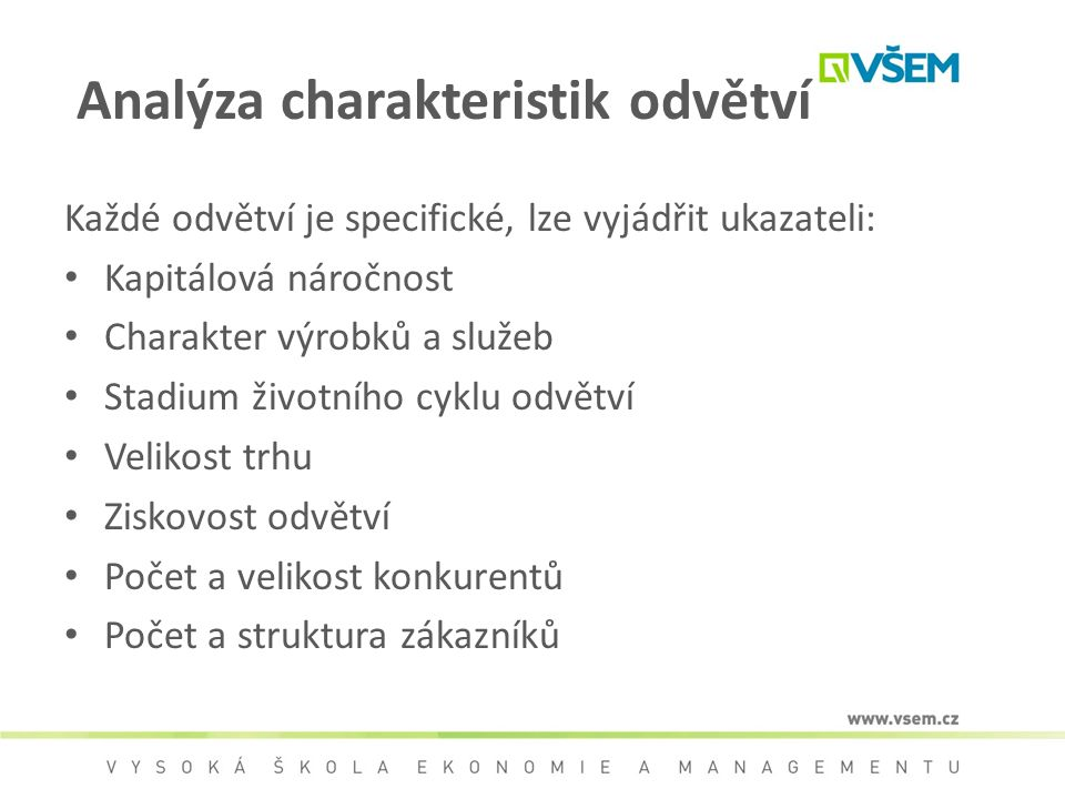 Analýza charakteristik odvětví