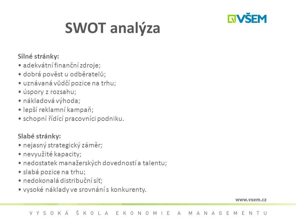 SWOT analýza Silné stránky: • adekvátní finanční zdroje;