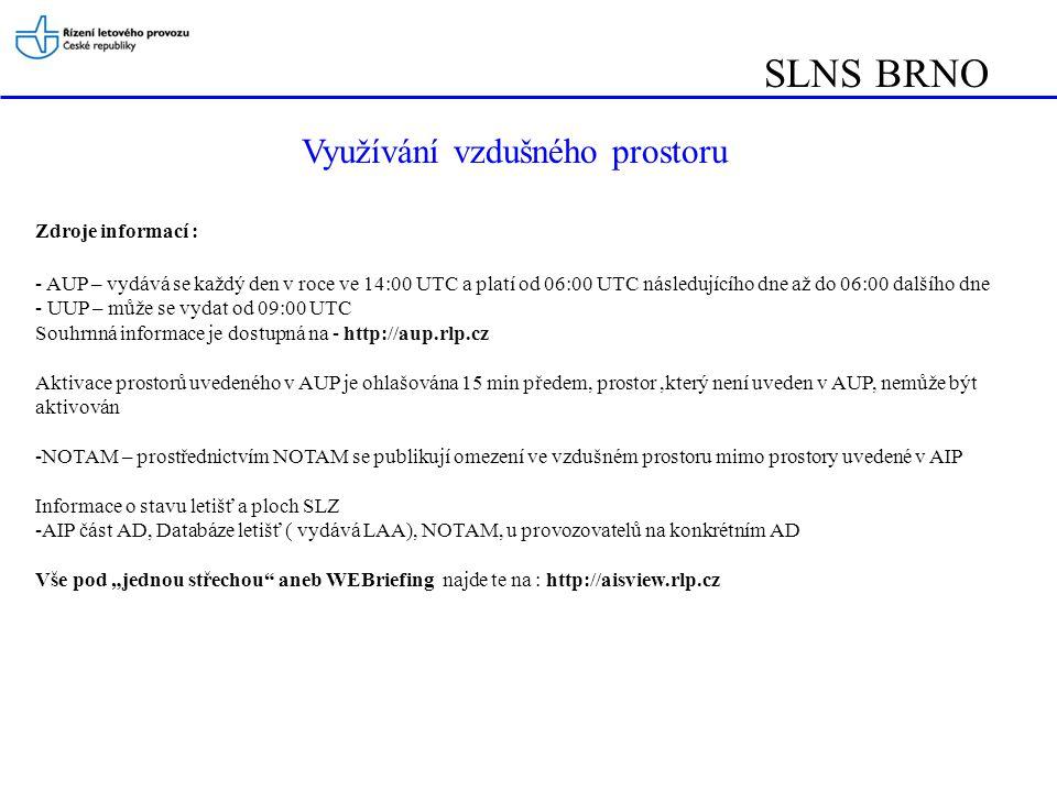SLNS BRNO Využívání vzdušného prostoru Zdroje informací :