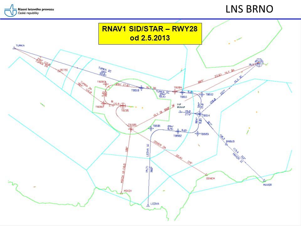 LNS BRNO RNAV1 SID/STAR – RWY28 od 2.5.2013 IAF BUKAP