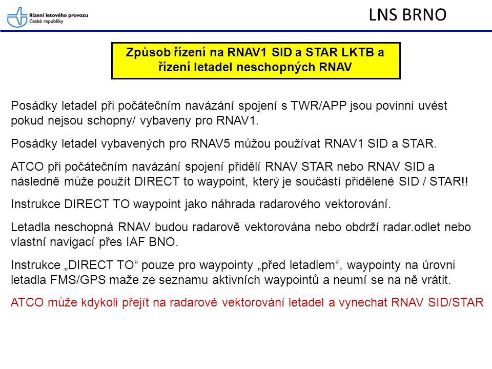 LNS BRNO Způsob řízení na RNAV1 SID a STAR LKTB a řízení letadel neschopných RNAV.