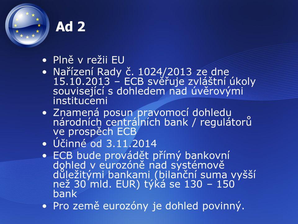 Ad 2 Plně v režii EU. Nařízení Rady č. 1024/2013 ze dne 15.10.2013 – ECB svěřuje zvláštní úkoly související s dohledem nad úvěrovými institucemi.