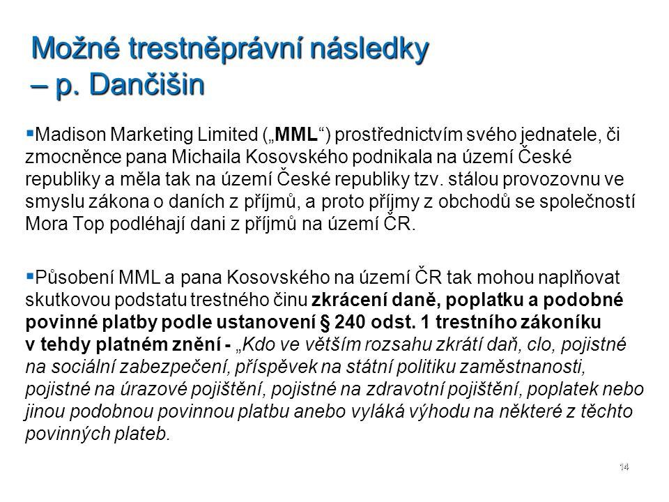 Možné trestněprávní následky – p. Dančišin