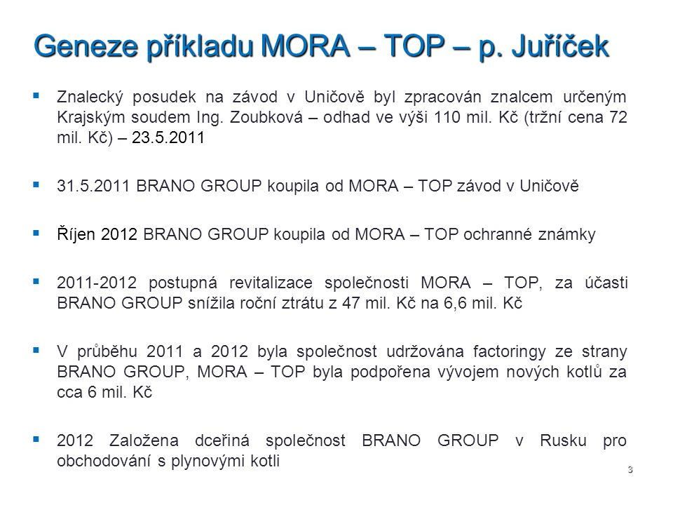Geneze příkladu MORA – TOP – p. Juříček