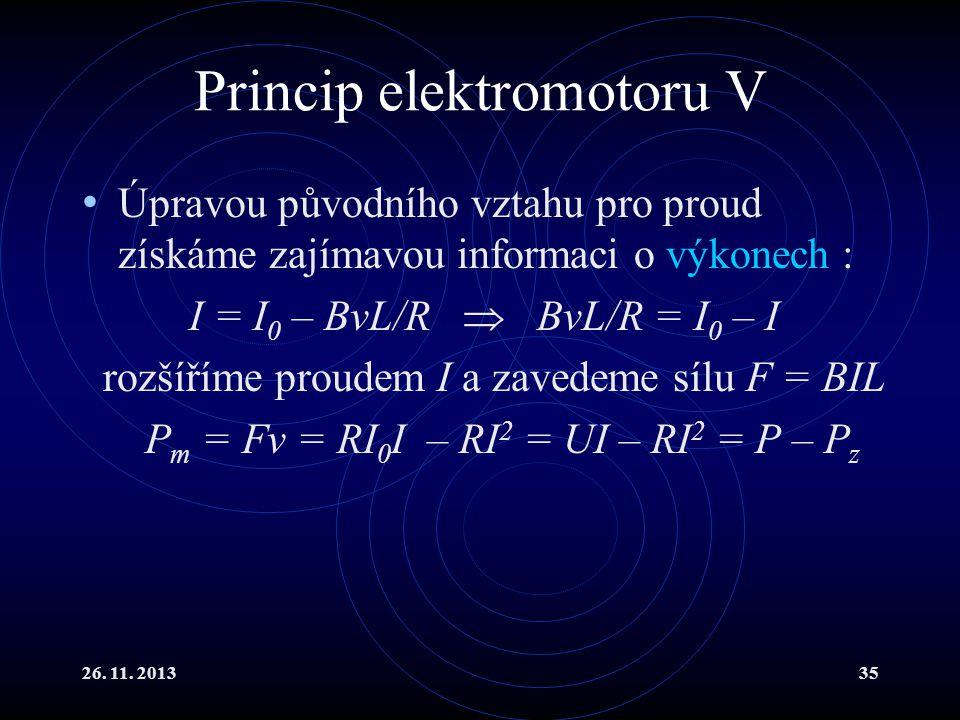 Princip elektromotoru V