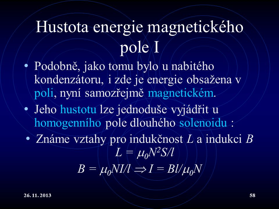 Hustota energie magnetického pole I
