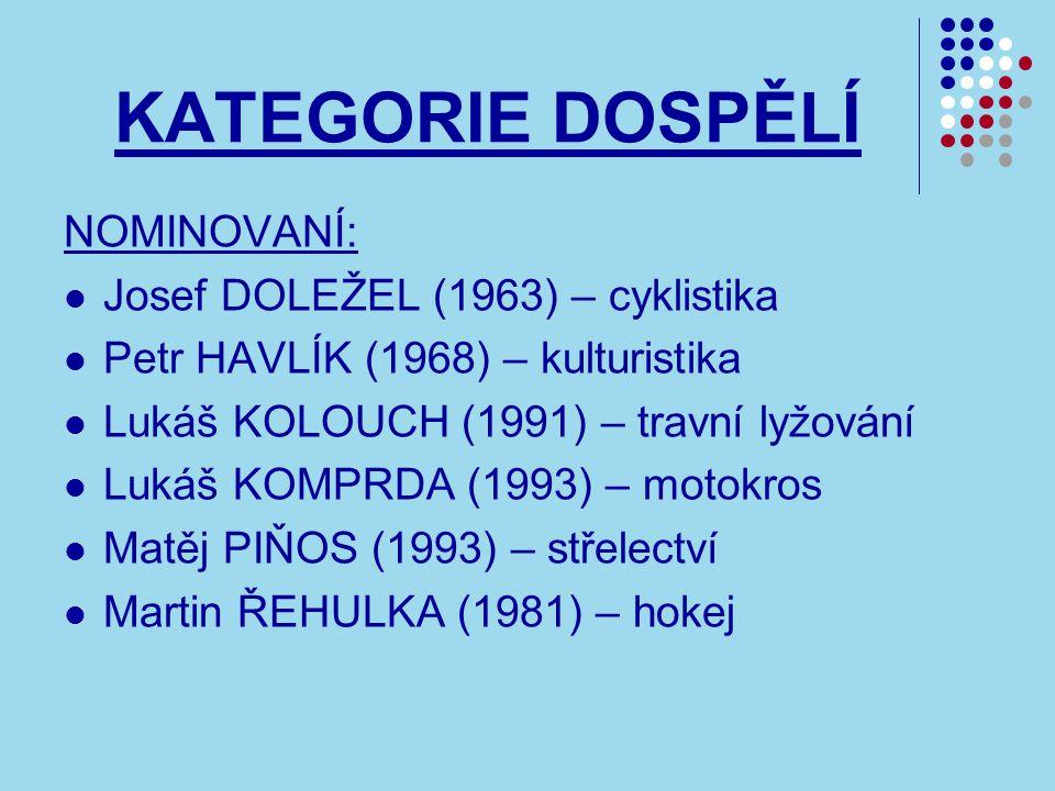 KATEGORIE DOSPĚLÍ NOMINOVANÍ: Josef DOLEŽEL (1963) – cyklistika