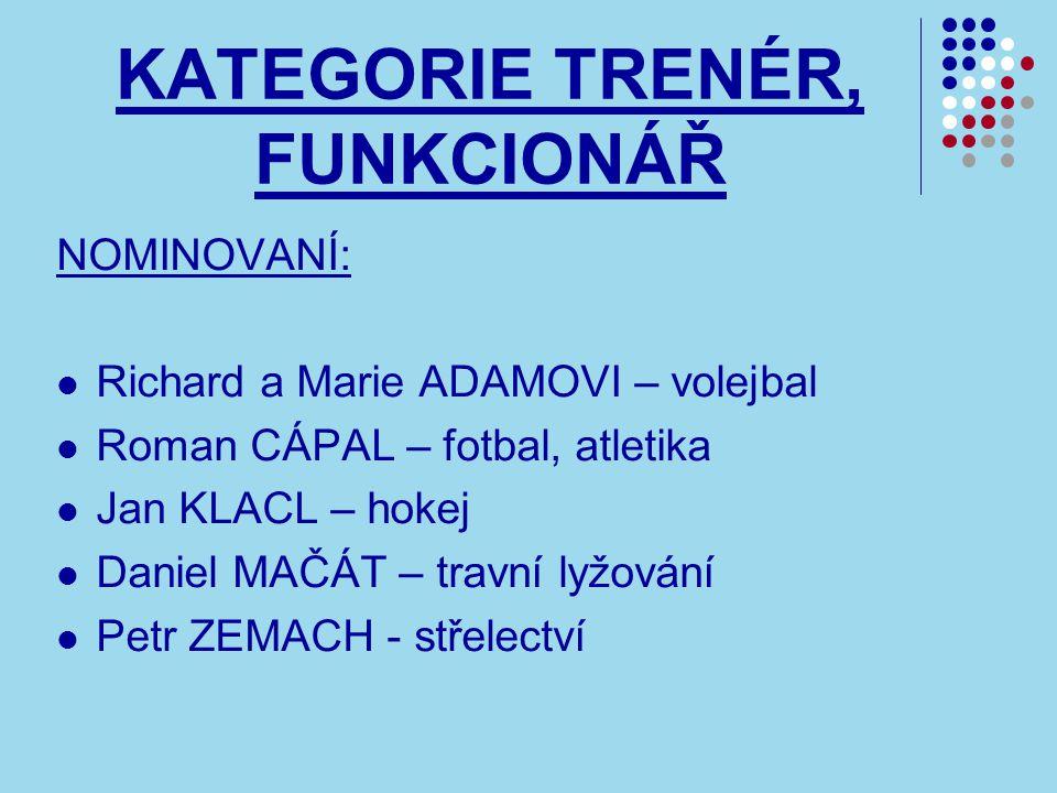 KATEGORIE TRENÉR, FUNKCIONÁŘ